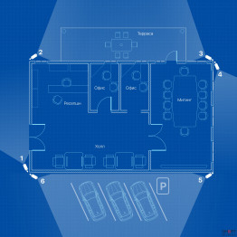 IP видеонаблюдение 6 камер (4Мп) для офиса