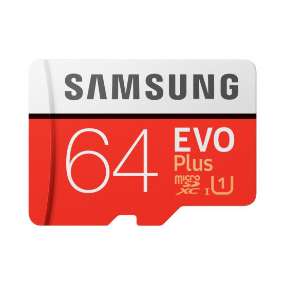 Карта памяти Samsung 64GB microSDXC C10 UHS-I U1 R100/W20MB/s Evo Plus V2 + SD адаптер (MB-MC64HA/RU)