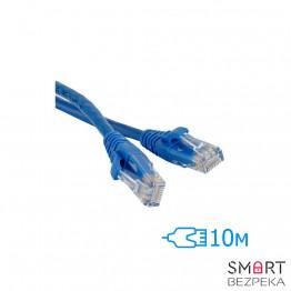 Патч-корд 10м UTP Cat.5e литой синий RJ45 CCA