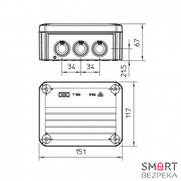 Коробка распределительная OBO T-100 151x117x67 IP66 - Фото № 1
