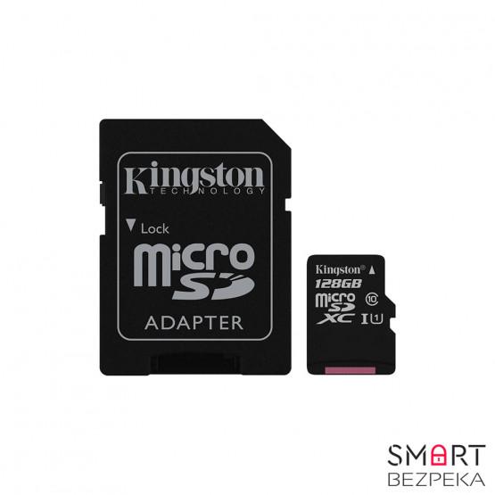 Карта памяти Kingston 128GB microSDXC C10 UHS-I + SD адаптер (SDC10G2/128GB)