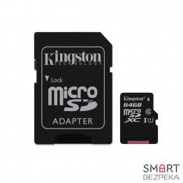 Карта памяти Kingston microSDXC 64GB Canvas Select Class 10 UHS-I U1 + SD-адаптер (SDCS/64GB)