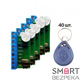 Комплект контроллер NM-Z5R (5шт) + RFID KEYFOB EM-Blue  (40шт)